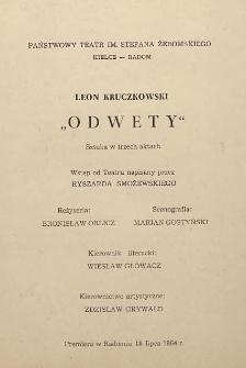 """Leon Kruczkowski """"Odwety"""" : Sztuka w 3 aktach"""