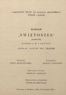 """Molier """"Świętoszek"""" (Tartufe) ; komedia w 5 aktach"""