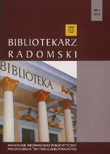 Bibliotekarz Radomski, 2014, R. 22, nr 3