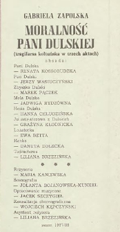 """Gabriela Zapolska """"Moralność Pani Dulskiej (tragifarsa kołtuńska w trzech aktach)"""" / Teatr Powszechny im. Jana Kochanowskiego w Radomiu"""