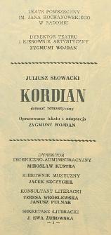 """Juliusz Słowacki """"Kordian"""" : dramat romantyczny / Teatr Powszechny im. Jana Kochanowskiego w Radomiu"""