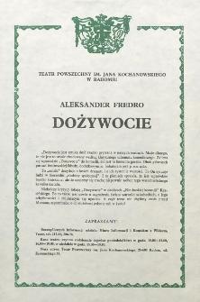 """Aleksander Fredro """"Dożywocie"""" / Teatr Powszechny im. Jana Kochanowskiego w Radomiu"""