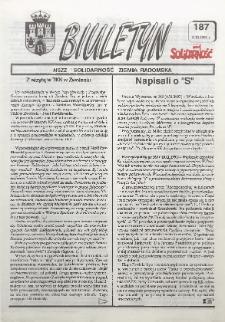 "Biuletyn NSZZ ""Solidarność"" Ziemia Radomska, 1993, nr 187"