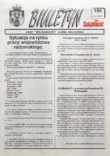 "Biuletyn NSZZ ""Solidarność"" Ziemia Radomska, 1993, nr 190"