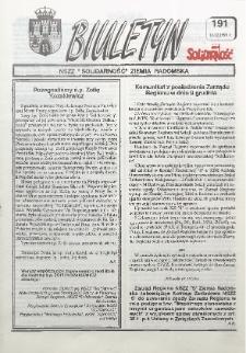"Biuletyn NSZZ ""Solidarność"" Ziemia Radomska, 1993, nr 191"