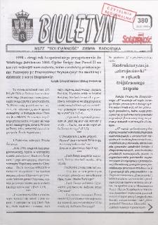 "Biuletyn NSZZ ""Solidarność"" Ziemia Radomska, 1998, nr 380"