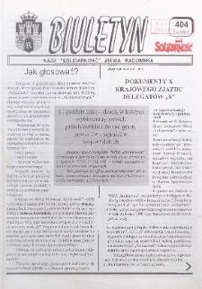 "Biuletyn NSZZ ""Solidarność"" Ziemia Radomska, 1998, nr 404"