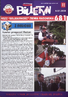 "Biuletyn NSZZ ""Solidarność"" Ziemia Radomska, 2008, nr 681"