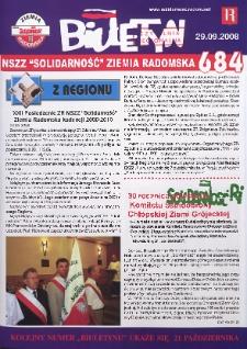 "Biuletyn NSZZ ""Solidarność"" Ziemia Radomska, 2008, nr 684"