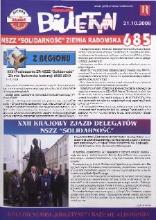 "Biuletyn NSZZ ""Solidarność"" Ziemia Radomska, 2008, nr 685"