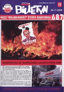 "Biuletyn NSZZ ""Solidarność"" Ziemia Radomska, 2008, nr 687"