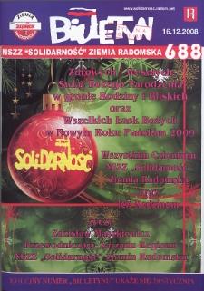 "Biuletyn NSZZ ""Solidarność"" Ziemia Radomska, 2008, nr 688"