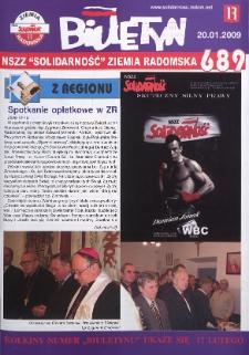 "Biuletyn NSZZ ""Solidarność"" Ziemia Radomska, 2009, nr 689"