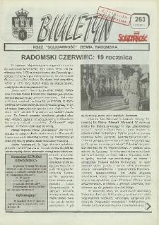 "Biuletyn NSZZ ""Solidarność"" Ziemia Radomska, 1995, nr 263"
