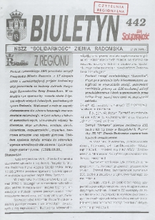 "Biuletyn NSZZ ""Solidarność"" Ziemia Radomska, 1999, nr 442"