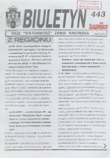 "Biuletyn NSZZ ""Solidarność"" Ziemia Radomska, 1999, nr 443"