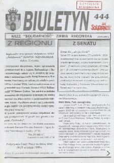"Biuletyn NSZZ ""Solidarność"" Ziemia Radomska, 1999, nr 444"