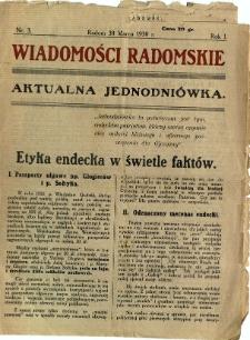 Wiadomości Radomskie, 1930, R. 1, nr 3