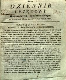 Dziennik Urzędowy Województwa Sandomierskiego, 1826, nr 1
