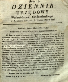 Dziennik Urzędowy Województwa Sandomierskiego, 1826, nr 4