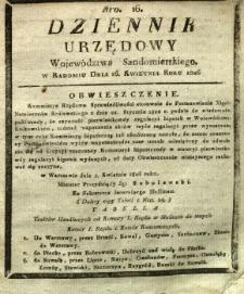 Dziennik Urzędowy Województwa Sandomierskiego, 1826, nr 16