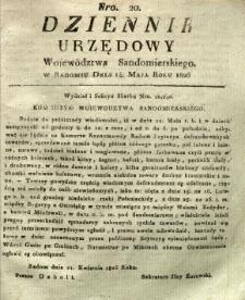 Dziennik Urzędowy Województwa Sandomierskiego, 1826, nr 20