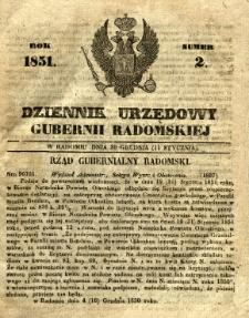 Dziennik Urzędowy Gubernii Radomskiej, 1851, nr 2