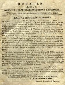 Dziennik Urzędowy Gubernii Radomskiej, 1851, nr 2, dod. I