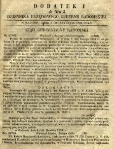 Dziennik Urzędowy Gubernii Radomskiej, 1851, nr 3, dod. I