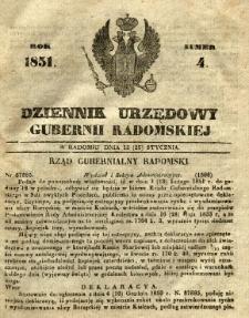 Dziennik Urzędowy Gubernii Radomskiej, 1851, nr 4