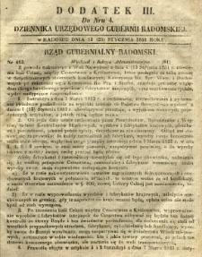 Dziennik Urzędowy Gubernii Radomskiej, 1851, nr 4, dod. III
