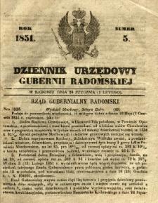 Dziennik Urzędowy Gubernii Radomskiej, 1851, nr 5