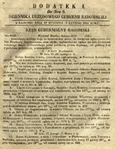 Dziennik Urzędowy Gubernii Radomskiej, 1851, nr 6, dod. I