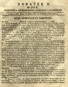 Dziennik Urzędowy Gubernii Radomskiej, 1851, nr 6, dod. II