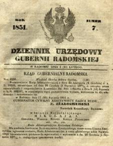 Dziennik Urzędowy Gubernii Radomskiej, 1851, nr 7