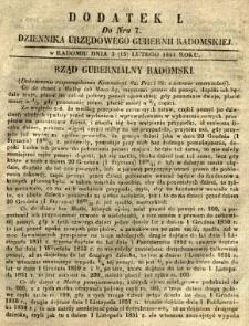 Dziennik Urzędowy Gubernii Radomskiej, 1851, nr 7, dod. I