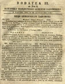 Dziennik Urzędowy Gubernii Radomskiej, 1851, nr 8, dod. III