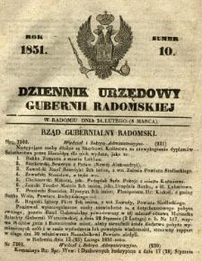 Dziennik Urzędowy Gubernii Radomskiej, 1851, nr 10
