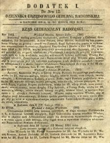 Dziennik Urzędowy Gubernii Radomskiej, 1851, nr 12, dod. I