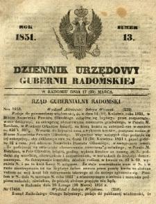 Dziennik Urzędowy Gubernii Radomskiej, 1851, nr 13