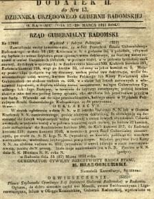 Dziennik Urzędowy Gubernii Radomskiej, 1851, nr 13, dod. II