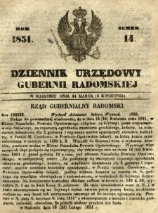 Dziennik Urzędowy Gubernii Radomskiej, 1851, nr 14