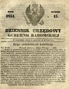 Dziennik Urzędowy Gubernii Radomskiej, 1851, nr 15