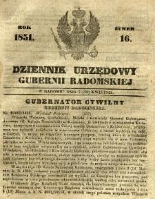 Dziennik Urzędowy Gubernii Radomskiej, 1851, nr 16