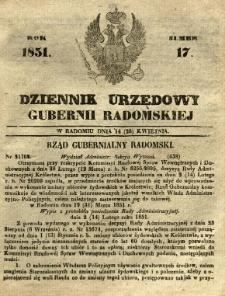 Dziennik Urzędowy Gubernii Radomskiej, 1851, nr 17