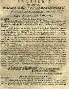 Dziennik Urzędowy Gubernii Radomskiej, 1851, nr 17, dod. I