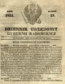 Dziennik Urzędowy Gubernii Radomskiej, 1851, nr 19