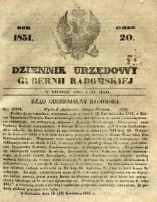 Dziennik Urzędowy Gubernii Radomskiej, 1851, nr 20