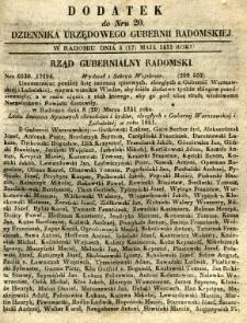 Dziennik Urzędowy Gubernii Radomskiej, 1851, nr 20, dod. I