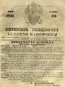 Dziennik Urzędowy Gubernii Radomskiej, 1851, nr 22